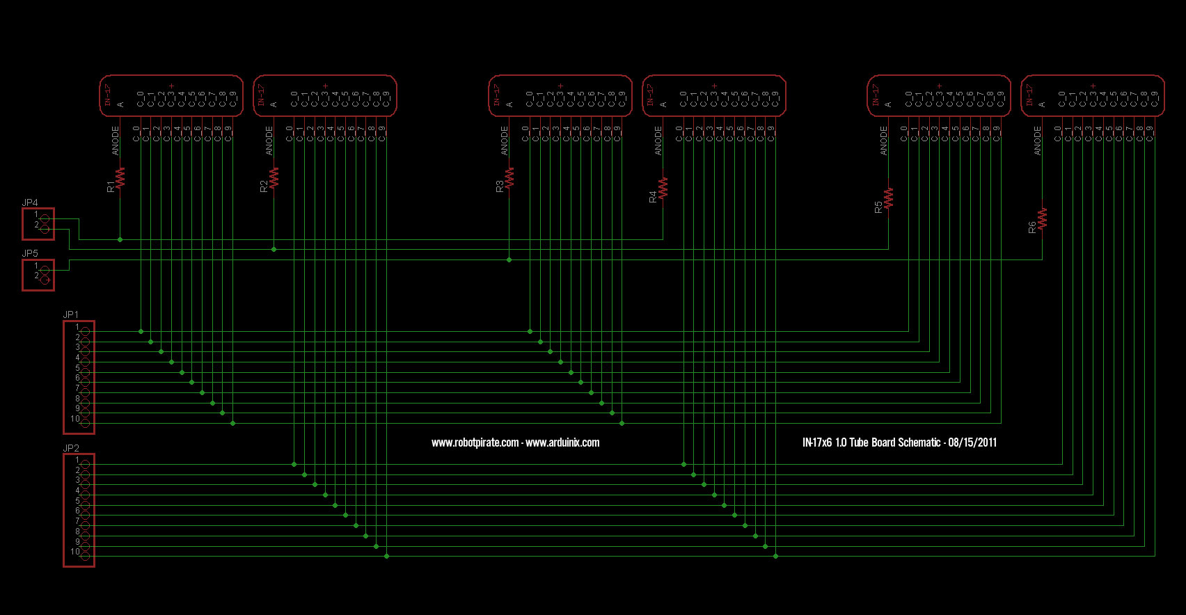 Arduinix Nixie Tube Schematic Page 1 Winner Will Be Chosen Solely By Me Your Friendly Neighborhood Robotpirate Whats That You Say Need The Pinout For This Board To Write Code